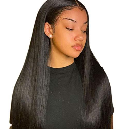 Volvetwig 360 Lace Frontal Wig Perücke Echte Haare Grade 7A Human Hair Wig Top Swiss Lace Natürliche Schwarze Farbe Glatt Haare Spitze Perücke für Frauen 18 zoll/ 45 cm