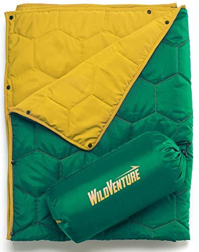 WildVenture Hexi Do-Anything Camping- und Stranddecke, leicht, warm, isoliert, winddicht, ideal für Outdoor, Stadion, Festival, Konzerte, Shows, inklusive Stuff Sack (grün und gelb)