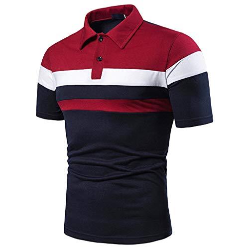 Yowablo Herren Poloshirt Polo Polohemd Kurzarmshirt Shirt Basic Lässiges, schmales Kurzarm-Patchwork (4XL,1Marine)