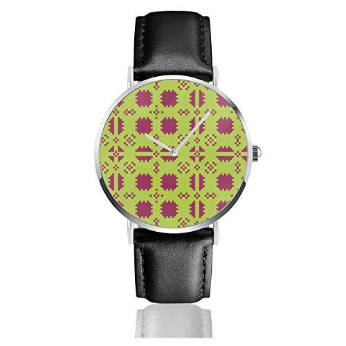 Armbanduhr Quarzuhr walisische Picknickdecke grüne Rose Licht Casual Uhren für Herren Damen Damen mit schwarzer Lederuhr