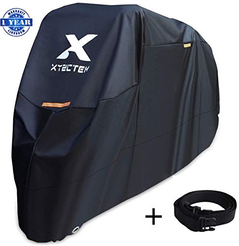 XYZCTEM Motorcycle Cover Waterproof Outdoor Storage BagMade of Heavy Duty Material Fits up to 108 inch Compatible with Harley Davison and All motorsBlackamp Lockholesamp Professional Windproof Strap