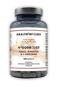 Healthinfoods | VigorBoost | Maca, Ginsen, Vitamina D, LArginina | Vitaminas B6, B12 y Zinc | Para la Líbido, Fertilidad, Masa Muscular y Potencia Sexual | 120 Cápsulas Veganas