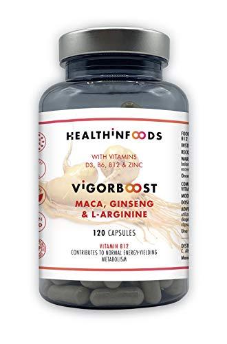 Maca,Ginseng,Vitamina D,L-Arginina VIGORBOOST Healthinfoods + Vitaminas B6,B12 y Zinc-120 cápsulas veganas-1000mg de Maca Andina pura+332mg de Ginseng-Líbido,Fertilidad,Masa Muscular,Potencia Sexual