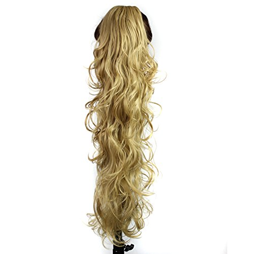 S-ssoy 31(78cm) Womens Curly Pony Tail Hair Piece Synthetic Claw Clip Ponytail Wavy Long Curled in Hair Extension Extensions Long/Voluminous Wig Hairpieces for Women Girls Lady,22#