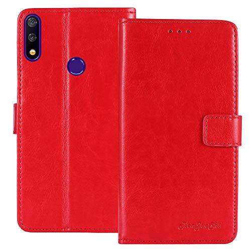 TienJueShi Rot Retro TPU Silikon Flip Book Stand Brief Leder Tasche Schütz Hülle Handy Hülle Für TP-Link Neffos X20 Pro 6.26 inch Abdeckung Wallet Cover Etui