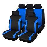 Upgrade4cars Copri-sedili Auto Universale Blu Nero Set Copri-Sedile Universali per Anteriori e Posteriori Accessori Auto Interno