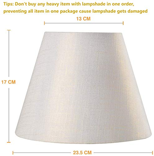 Lamp Shade IMISI Linen Fabric White Lamp Shade Small 5 Top Diameter x 9 Bottom Diameter x 7 Tall (White with Gold Threads)