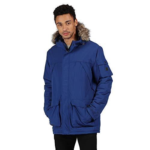 Regatta Salinger II Waterproof Breathable Taped Seams Insulated Taffeta Lining Hooded with Removable Faux Fur Trim Jacket Chaqueta, Hombre, Brillante Royal, XL