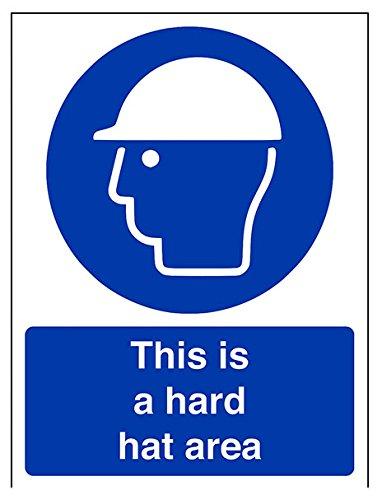 "vsafety 41003an-s""este es un área de casco de protección obligatorio EPI señal, autoadhesivos, vertical, 150mm x 200mm), color azul"