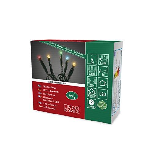 Konstsmide 6353-520, Micro LED Lichterkette / für Innen (IP20) / 24V Innentrafo / 50 bunte Dioden / schwarzes Kabel