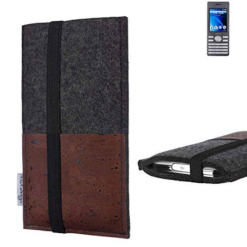 flat.design Handy Hülle Sintra für Kazam Life B6 Handytasche Filz Tasche Schutz Kartenfach Case braun Kork