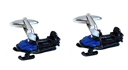 Unbekannt Manschettenknöpfe Schneebob Schlitten schwarz blau silbern farbig + schwarzer Exklusivbox