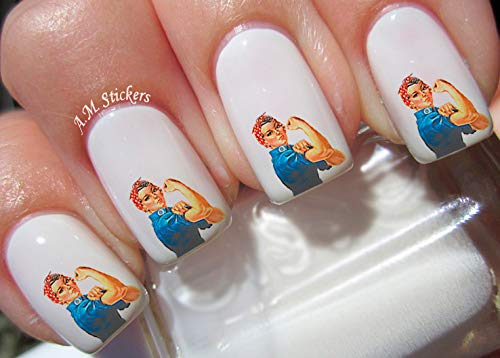 Rosie shipfree The Riveter Water Nail Art Stickers - Transfers Spring new work Decals Set