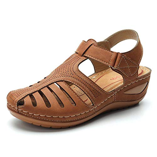 Women's Retro Large Size Lightweight Hollow Thick-Soled Baotou Sandals Lady Comfortable Round Toe Casual Shoes (Brown, 8-Women-US)