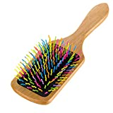 SUPVOX Rainbow Cushion Brush Cepillo de pelo de madera natural, peine Cepillo desenredante Paleta grande Cepillo para el cabello Estimular Cuero cabelludo Ayuda Liberación de estrés