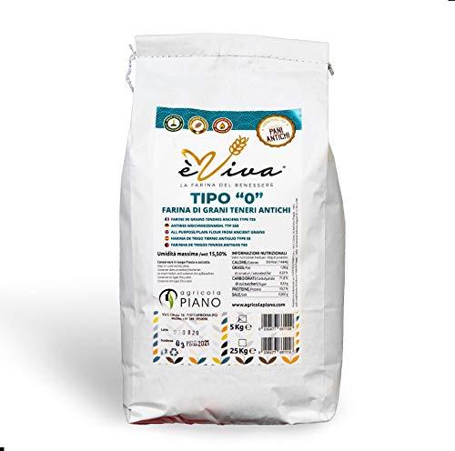 Farine de blés tendres anciens type t55 avec germe de blé vivant 5 kg. 100% Italienne. 100% naturelles.