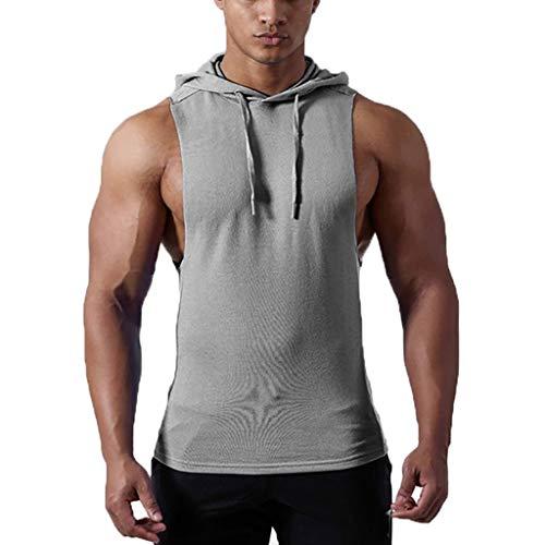 WYNZYYX - Camiseta deportiva sin mangas para hombre, gris, xx-large