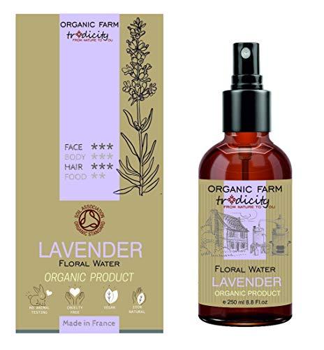 Organic Farm Hydrolat Hydratant Eau Florale Organique de Lavande 250 ml Flacon en Verre Spray, Soin Purifiant et Cuisine
