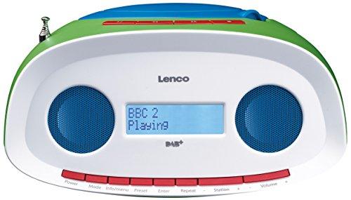 Lenco Digitale radio SCD-70 DAB kinderradio met cd-speler en USB, werkt op batterijen mogelijk (DAB, DAB+, FM-tuner, RDS, MP3-weergave, hoofdtelefoonaansluiting, AUX), kleurrijk