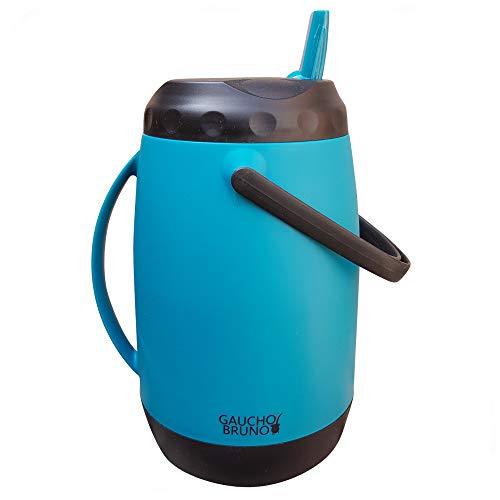 Gaucho Bruno - Termo paraguayo grande, 2,5 litros, color azul | Doble asa para verter y transportar | Mantiene la temperatura del líquido | Ideal para Tereré