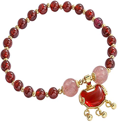 JPSOUP Handmade Bracelet Garnet Strawberry Crystal Jewelry Retro Long Life Lock Jewelry Good Fortune Peach Blossom for Women