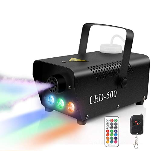 Nebelmaschine, 500W Mini Rauchmaschine mit 13 LED Lichtern, RGB Effekt und 4 Lichtmodi mit Funkfernbedienungen für Halloween Party Hochzeit Bühneneffekt