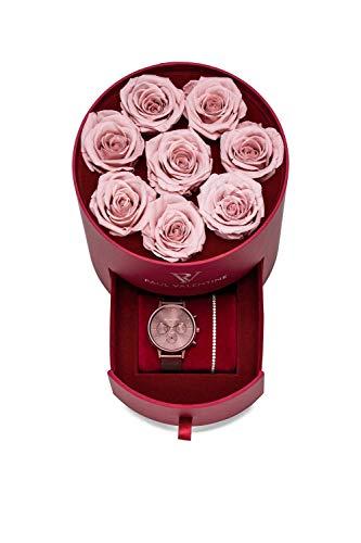 PAUL VALENTINE ® Sweetheart Rosebox mit Damen Uhr für Frauen - Mit edler Armkette - Uhren Geschenkbox für Damen - Aus hochwertigem Edelstahl - Damen Uhr Set (Multifunctional Coffee)