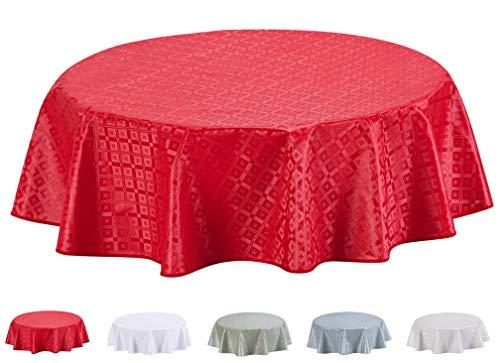 Mantel de Hule, con Relieve, Redondo 155 cm Rojo