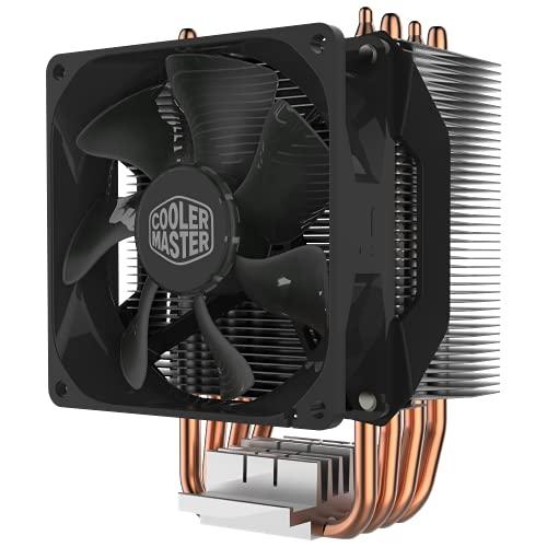 Cooler Master Hyper H412R Dissipatore CPU, Sistema a Basso Profilo, Tecnologia a Contatto Diretto, 4 Tubi Calore in Rame, Dissipatore Compatto in Alluminio, Ventola PWM da 92mm-AMD e Intel Compatibile