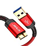 JSAUX USB 3.0 Micro Cable, 2 Pack (1ft+3.3ft) External Hard Drive Cable USB A Male to Micro B Charger Cord Compatible with Toshiba, WD, Seagate Hard Drive, Samsung Galaxy S5, Note 3, Note Pro 12.2 ect