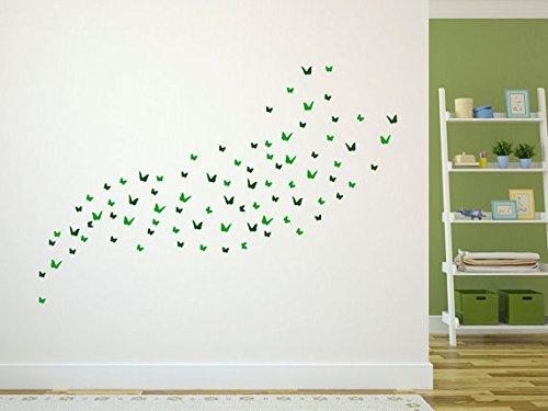 Designdivil Wall Art Paquet de la Papillon. qualité Mat de la Mur du Vinyle Stickers muraux. 84 unités, 2 Couleurs Mixtes. Vert (Forest Green & Mid Green)