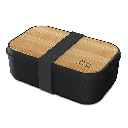 UMAMI Bento Lunch Box - 1 Recipiente 3 Cubiertos - Tupper Compartimentos Estilo Bento Box Japonés - Porta Alimentos Hermético - Microondas y Lavavajillas - Fiambrera Para Adultos/Niños - Zero Waste