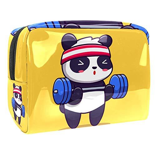 Tragbare Make-up-Tasche mit Reißverschluss, Reise-Kulturbeutel für Frauen, praktische Aufbewahrung, Kosmetiktasche, Panda-Hantel