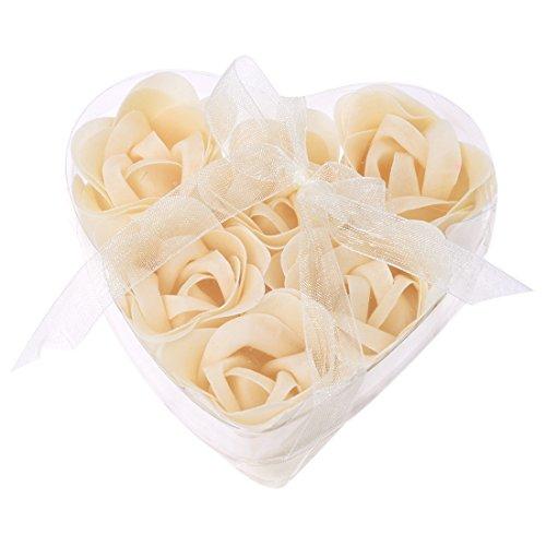 6 Pièces Bain Douche blanc cassé Fleur Rose Savon De Bain Pétales w En Forme De Cœur Boite