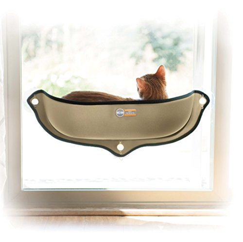K&H Pet Products EZ Mount Window Bed Kitty Sill Tan 27 X 11 X 6 Inches