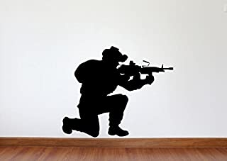 Maxx Graphixx Soldier Wall Decal - Soldier Military Silhouette Vinyl Decal - Soldier 9 (Black, 22