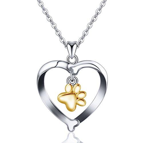 INFUSEU 925 Sterling Silber Damen Halskette, Dog's Footprint Herz Anhänger Charm Schmuck mit Kette 18