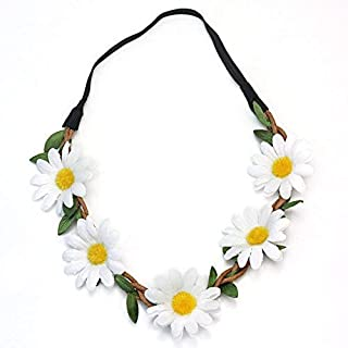 ReFaXi Hippie Women Bohemian Floral White Daisy Flower Elastic Headband Headpieces for Festival Party