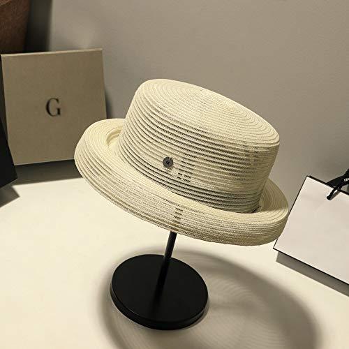Xme Strohhaube für Frühling und Sommer, silberner Sonnenschutz-Sonnenhut, Faltbarer Strohhut für Damen
