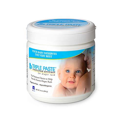 diaper rash creams Triple Paste Diaper Rash Cream, Hypoallergenic Medicated Ointment for Babies, 16 oz