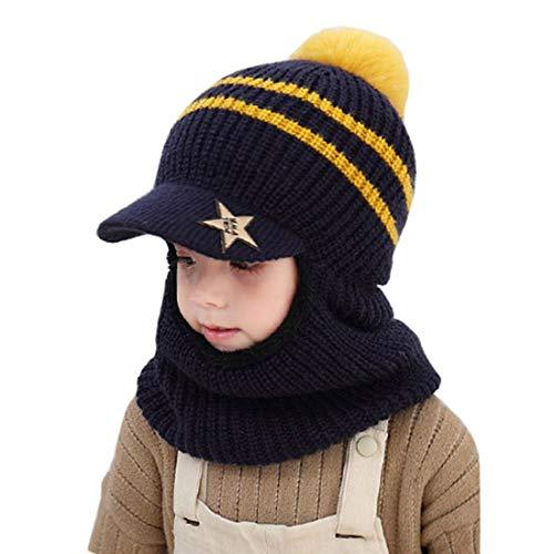 YONKINY Kinder Wintermütze Jungen Mädchen Warm Niedlich Strickmütze Schalmütze Schlupfmütze Beanie Mütze mit Fleecefutter (Marine blau)