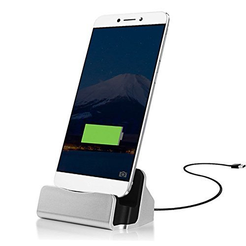 ONX3 Silver Desktop-Ladegerät Micro-USB-Basisstation Datensynchronisation Aufladen Dockingstation Kompatibel mit ZTE Blade L3 Plus