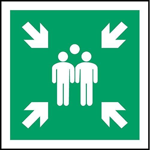 ISO Sicherheitsaufkleber Sign - Evacuation Sammelplatz Symbol - Selbstklebende Aufkleber 150mm x 150mm
