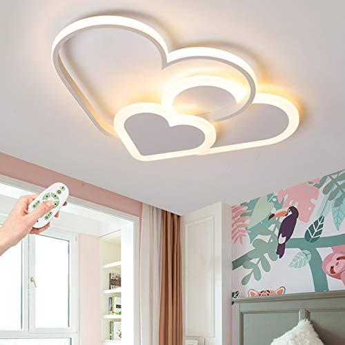 Plafonnier LED Love Heart Creative Design Lampe Pour Enfants Spots De Plafond 30W Dimmable Avec Télécommande Moderne Mince Éclairage Acrylique Garçons Et Filles Lampes De Chambre,Blanc,42cm