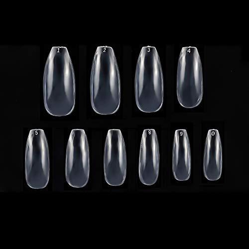 Girls'love talk 500 Stück Künstliche Fingernägel,Natürliche Falsche-Fingernägel Kunstnagel Nagel Fake Nägel Nagelspitzen (Größe 0-9)(Transparente Farbe)