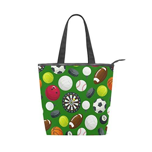 Einkaufstasche mit Cartoon-Fußball-/Basketball-Motiv, groß, aus Leinen, für Arbeit, Reisen, Schultertasche, Handtasche, wiederverwendbar, für Damen und Mädchen (28 x 10 x 34 cm)