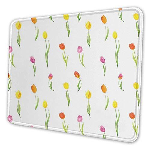 Rechthoekige Mousemat Mousepad, Kleurrijke Tulpen Patroon Landelijke Stijl Bloemen Thuis Schilderijen Effect Art Print
