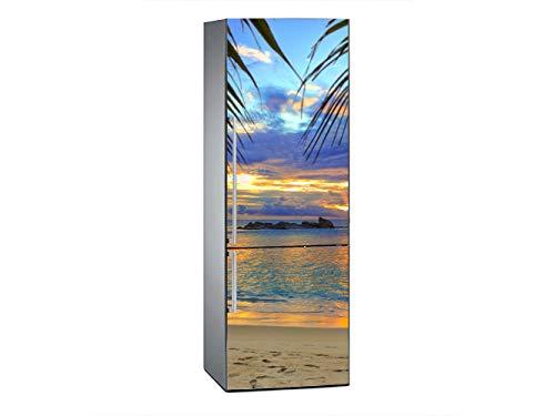 Oedim Vinilo para Frigorífico Anochecer en Playa Tropical 200x70cm   Adhesivo Resistente y Económico   Pegatina Adhesiva Decorativa de Diseño Elegante