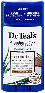 Dr Teal's Aluminum Free Deodorant - Coconut Oil - Paraben & Phthalate Free - 2.65 oz