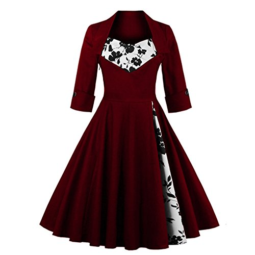 Olddnew Womens Vintage Cocktail Dress Plus Size Long Sleeves, 50s Style Rockabilly Swing Party Dresses for Women